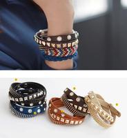 CCB195  Punk Rock Hand Chain PU Leather Rivet Spike Cuff Bracelet Wristband Bangle