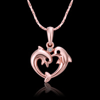 2013 new factory price plated 18K rose gold inlay Czech diamond dolphin pendant necklace free shipping 18K N508