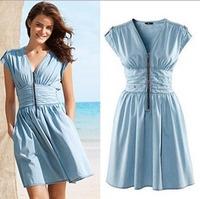 CL497 European style Famous Brand Dress Epaulette Zipper Pinched Waist Cotton Tunic  Spring Summer Fall Women Lady Drop Shipping