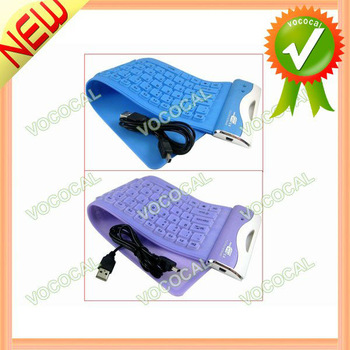 USB 2.0 Silicone Roll Up Foldable Flexible PC Computer Keyboard, Free Shipping, Mini Order 1 pcs