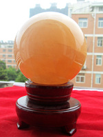 Natural crystal ball decoration transhipped yellow lucky fortune ball