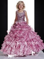 Luxurious heavy beaded handmade sewn ruffles long patterns for flower girls dress little girls pageant dress JY2058