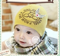 On Sale!  New Style Baby 100% Cotton Hat, Baby Girl & Boy Skullies,Beanies with Wing,(5 pcs/lot),6 Colors, Free Shipping