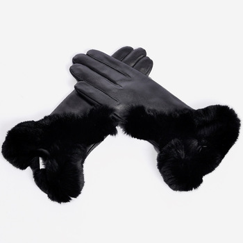 Sheepskin female thermal gloves fashion quality rex rabbit hair gloves