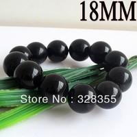 Charm Semi Precious Stone 18MM Natural Round Obsidian Bead Stretch Bracelet for Man Free Shipping