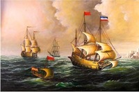 1800's French Ships Ocean Sea Marine Large Oil Painting