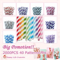 2000pcs 40 Patterns Mix Paper Straws for Party and Weddings Supplies,Paper straws Stripes,Drinking Straws,Colorful Paper Straws
