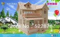 Wooden 3d puzzle three-dimensional toy house DIY for children education Chrismas gift free shipping