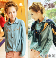 2013 rivet denim shirt female shirt all-match denim coat female clothes plus size t shirts women free shipping