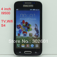 "Free shipping 4"" china mobile phone Resistive Screen GSM Quad Band Unlocked Dual SIM Cell phone S4 i9500 TV Wifi"