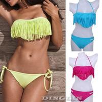 Sexy Women's Tassel Padded Bandeau Boho Swimsuit Swimwear Top&Bottom Dolly Bikini Bathing Suit S M L 6 Colors Free Shipping 5302