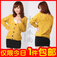 2012 spring women's lantern sleeve sweater three quarter sleeve cardigan female loose sweater 70