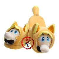 Super Mario Bro Brothers Tanooki Mario Cosplay Plush Slipper