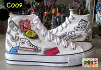 Medium cut hand-painted shoes graffiti shoes canvas shoes female male fashion doodle - - c009