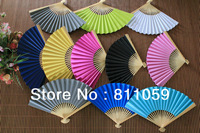 Free shipping 100pcs/lot colorful paper hand fan for wedding with 10colors for choice