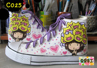 Medium cut hand-painted shoes graffiti shoes canvas shoes female - pig . girl - c025