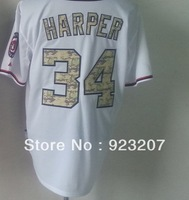 Free Ship Wholesale 2013 New Cheap Mens Washington #34 Bryce Harper White Camouflage Baseball Sports Jersey Shirts Embroidery