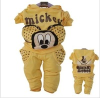 free shipping Minnie positive and negative two ways girls clothing children infant sports set 0-1 - 2 - 3 set