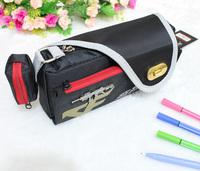 The boy big capacity pencil case bag belt button pencil case