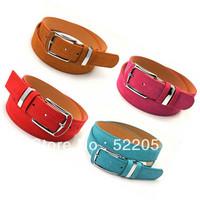Korean fashion lady leopard buckle pigskin veneer design women's belts candy color HF562Free shipping