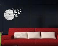 8 PCS BUTTERRLIES 3D wall clock Home decoration DIY mirror wall clocks black wall art watch HOT SALE FREE SHIPPING Z039