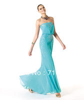 New Discount On Sale Classic Beaed Sequined Strapless Tube Blue Bodice Floor-length Prom EveningPartyCoctailHomecoming Dress