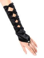 Ladies Black Elbow Length Satin Bridal Weddings Pearl Fingerless Gloves