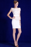 2013 Summer women's elegant  formal biege crotch flower lace ruffle 2 in 1 peplum dress with belt  free shipping