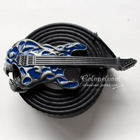 Blue flame guitar music buckle casual fashion personality novelty belt buckle
