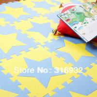 WM018 High qualiity star (yellow+blue) eva puzzle foam baby play mat, 10pcs/set