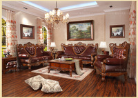 luxury  European American Modern   3 Pc French Regence Sofa Set  Hand Carved solidwood genuine leather sofa