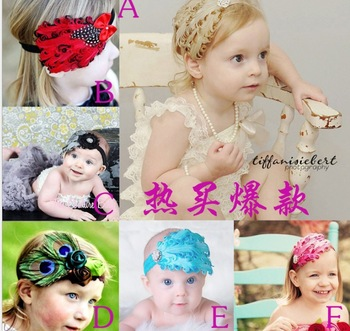 Cuter!!! New Fashion Hot Infant Baby Toddler Feather Flower Diamond Bow Headband Soft Headwear Hair Band