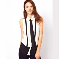 2014 New haoduoyi handsome black tie stitching lapel sleeveless chiffon blouse