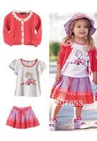 free shipping 5sets /lot cotton children clothing set 3pcs  kids wear girls t-shirt+ cardigan +cake skirt girls 3pcs outfit