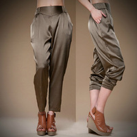 Free Shipping Mulberry silkworm Silk True Silk Spring Summer  Large Size Women's Trousers Pants