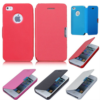 30 PCS / Lot Hot Sale Magnetic Flip Pouch Wallet Style Leather Hard Skin Case Cover For Apple iPhone 4 4S Wholesale