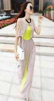 elegance summer beach maxi dress for women 2015 new chiffon sleeveless patchwork tank long dresses size XS,S,M,L drop shipping