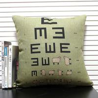 Sheep eye chart High Quality  Linen Cotton Ikea Sofa Pillow Case Cushion Cover Monopoly 1pcs 45 *45cm Wholesale Free Shipping