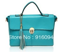 Genuine leather women's bags vintage handbag bv knitted tassel messenger bag ol messenger bag free shipping
