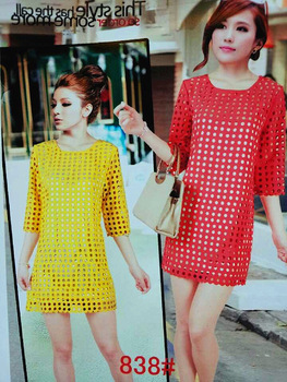Free shipping 2013  New Arrival fashion popular candy color Hollow out dot half sleeve Round collar dresses 3 color optional