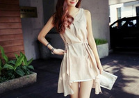 New Fashion elegant  Women's Lady Sleeveless Asymmetric Hem Dress