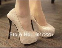 Ladies Fashion Sexy Evening high heels Shoes black/silver Colour Party Pumps Shoes Size 35-39