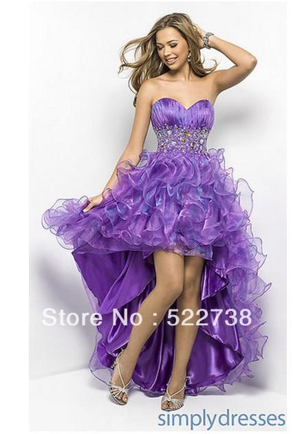Purple Prom Dress Short Front Long Back - Evening Wear