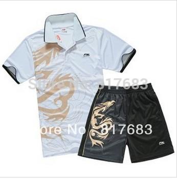 Wholesale New 2012 Li-Ning Badminton /table tennis Men Dragon Polo Shirt +shorts