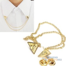 #F9s Hot Spike Stud Blouse Shirts Collar Neck Tip Brooch Pin Chain Punk