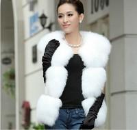 2013 New Luxury Womens Fox Fur Vest White Style Gilet Fur Waistcoat M-XXL Free Shipping