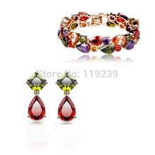 KS62 Mona Lisa Items 18K Gold Plated Multicolor Crystal Waterdrop Bracelets Bangles Dangle Earring Fashion Women