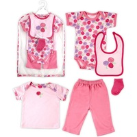 6pcs/ set Hudson Baby 6-Piece Mesh Bag Gift Collection ,Baby Clothes Set,Baby Romper Clothing Set, 0-3 Months