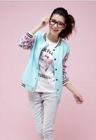 East Knitting WE102 Women's SweatshirtKorea Style Printing Sleeve Patchwork Hoodies Fashion Autumn Cardigan M/L/XL