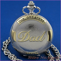 Free shipping New Mens Fashion Casual Quartz Pocket Watch Necklace Chain Dad Of Gift HB0033 Roman Numeral Silver Charm